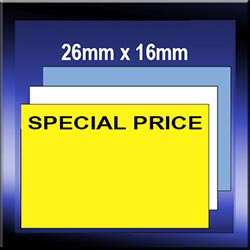 Pre-printed 26mm x 16mm Bold print labels